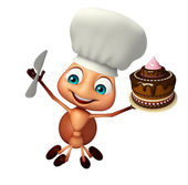 Photo Ant cartoon character with cake and chef hat