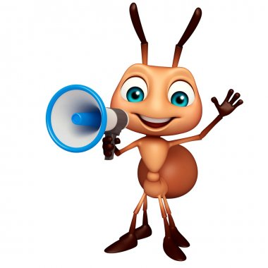 fun Ant cartoon character with loudspeaker