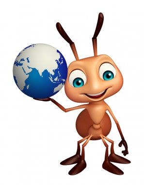 fun Ant cartoon character with earth