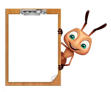 Ant cartoon character with exam pad