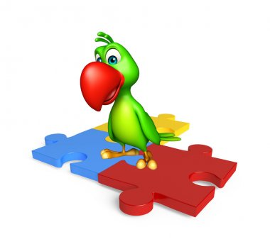 cute Parrot cartoon character  with puzzle