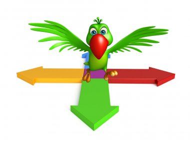 cute Parrot cartoon character with arrow sign