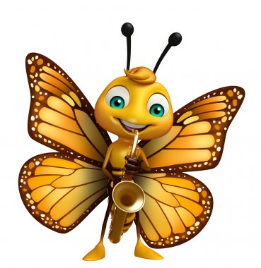 Butterfly cartoon character with saxophone