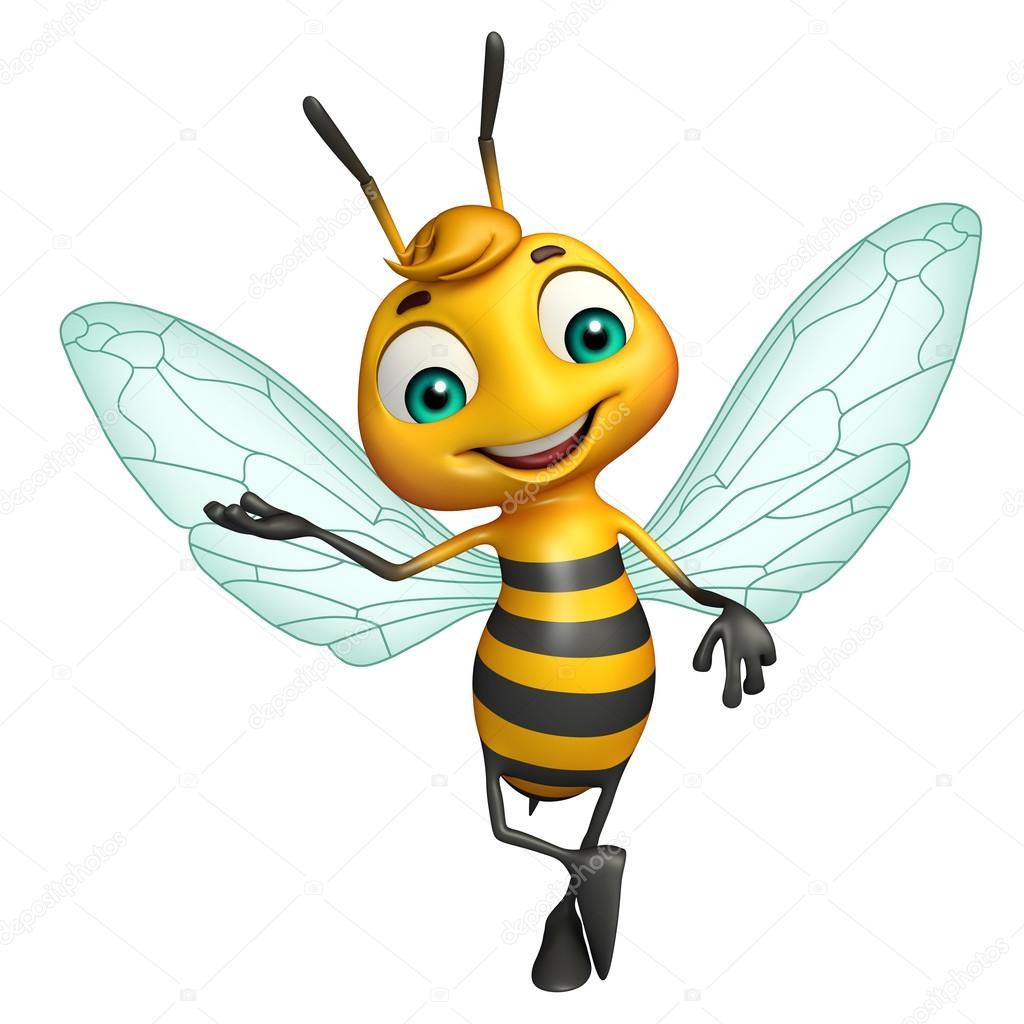 mignon personnage de dessin animé drôle d'abeille ...
