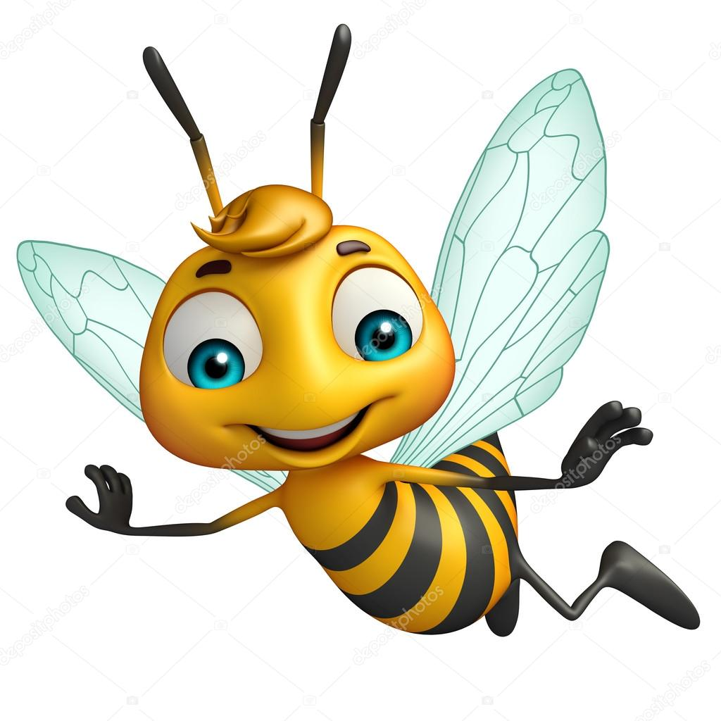 mignon personnage de dessin animé drôle d'abeille — Photographie visible3dscience © #103204314