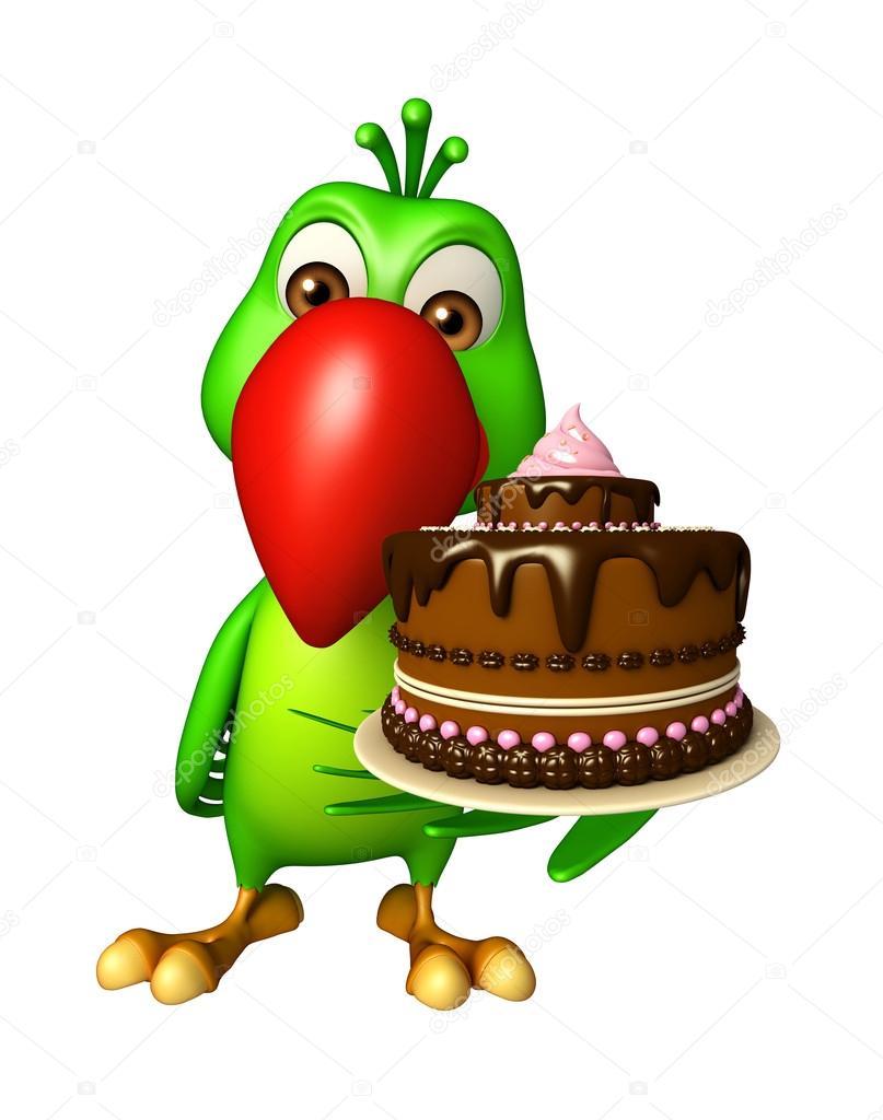 Divertente personaggio dei cartoni animati pappagallo con