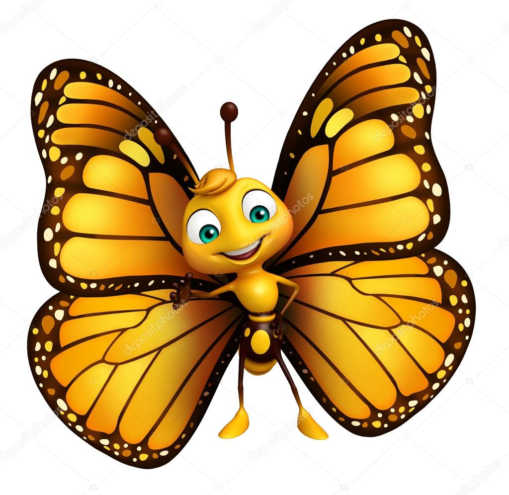 funny butterfly cartoon character u2014 stock photo visible3dscience