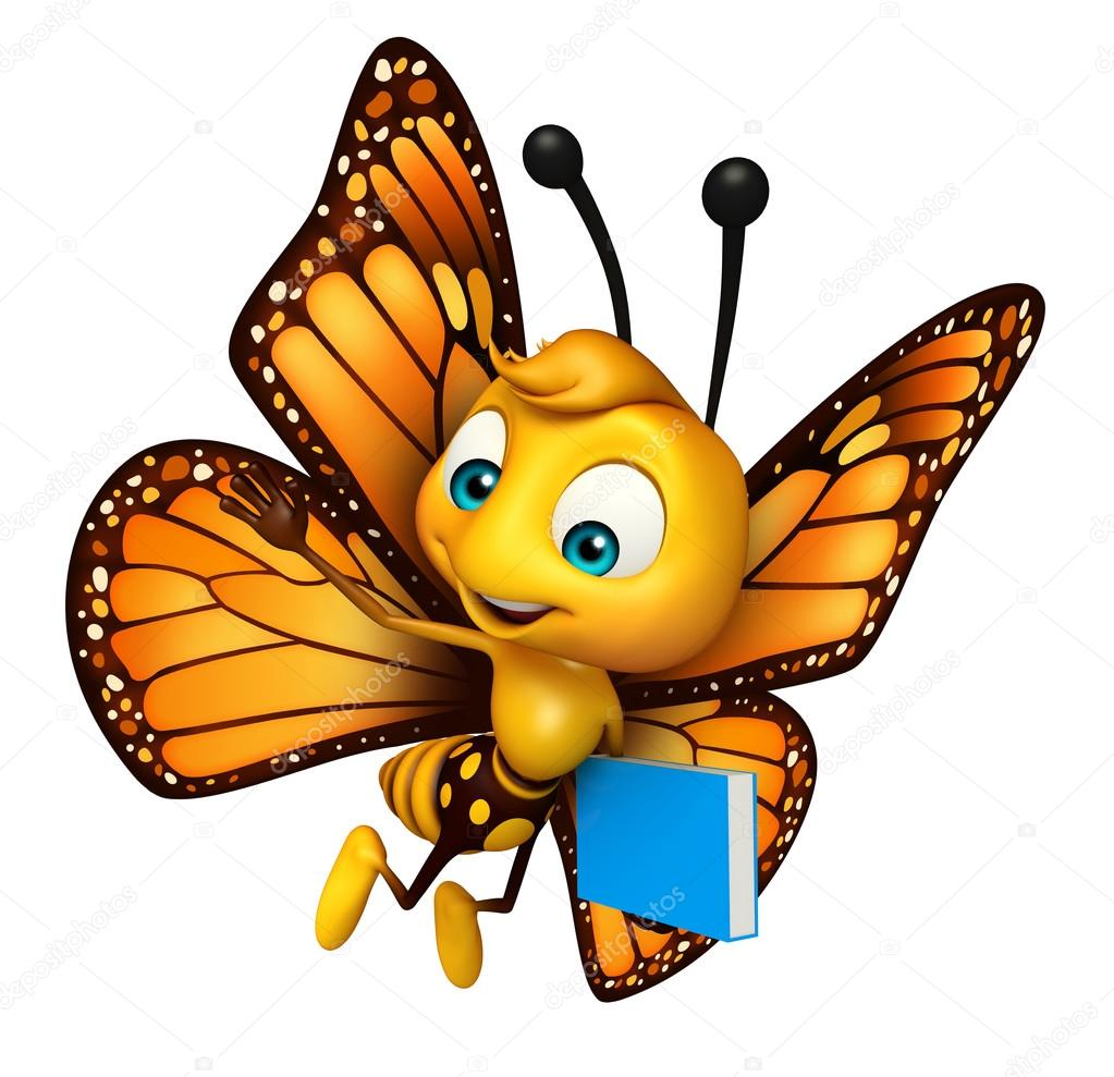 cute butterfly cartoon character with books u2014 stock photo