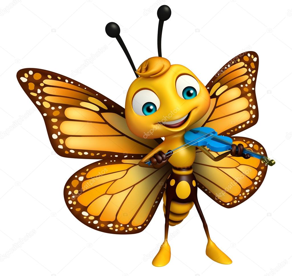 cute butterfly cartoon character with violin u2014 图库照片