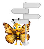 Fotografia divertente personaggio dei cartoni animati di farfalla con segno di modo