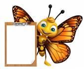 Fotografia divertente personaggio dei cartoni animati della farfalla con il rilievo di esame