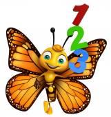 Fotografia divertente personaggio dei cartoni animati di farfalla con 123 segno