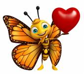 Fotografia divertente personaggio dei cartoni animati di farfalla con cuore