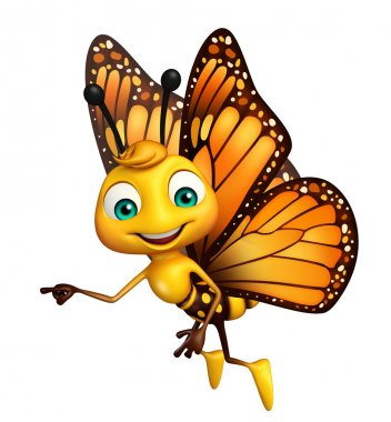 pointing  Butterfly cartoon character