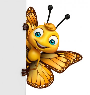 cute Butterfly cartoon character with board