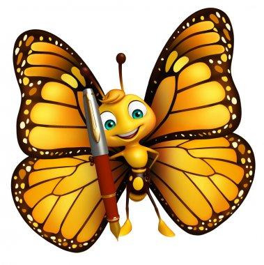 fun Butterfly cartoon character with pen