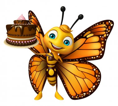 cute Butterfly cartoon character with cake