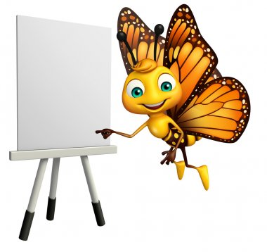 fun Butterfly cartoon character with easel board