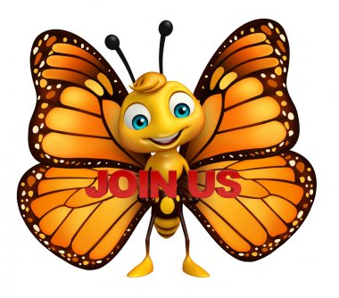 Butterfly cartoon character with join us sign