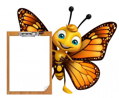 fun Butterfly cartoon character with exam pad