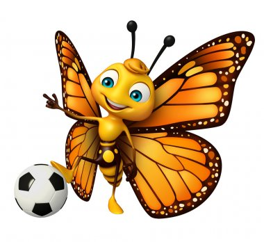 Butterfly cartoon character with football