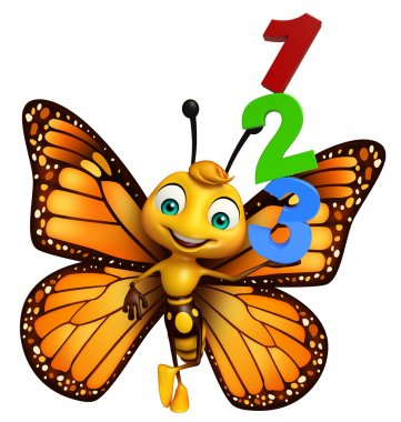 fun Butterfly cartoon character with 123 sign