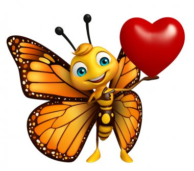fun Butterfly cartoon character with heart