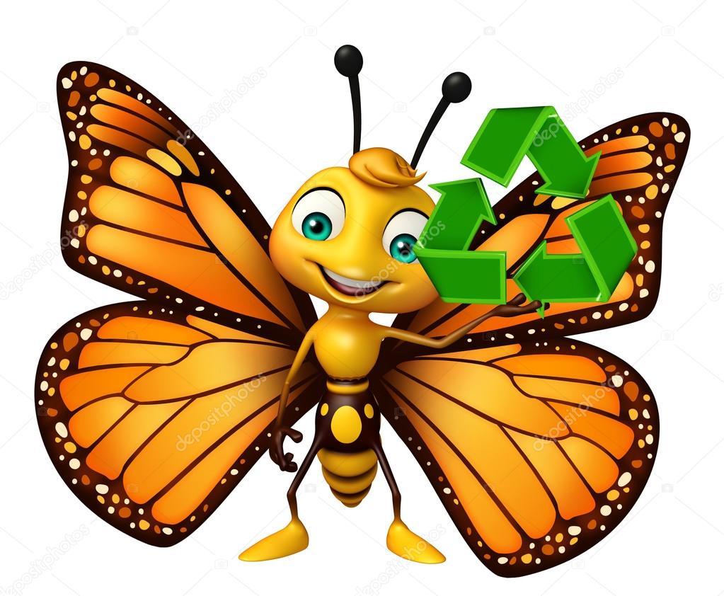 Personaje De Dibujos Animados De Mariposa Con El Reciclaje