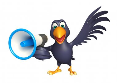 fun Crow cartoon character with loud speaker