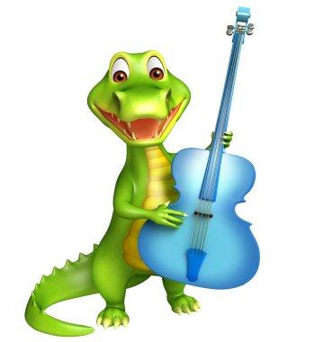 cute Aligator cartoon character  with guitar
