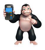 roztomilá gorila kreslená postava s odkládací stroj