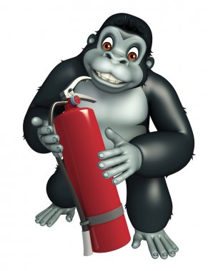 Gorilla cartoon character with fire extinguisher