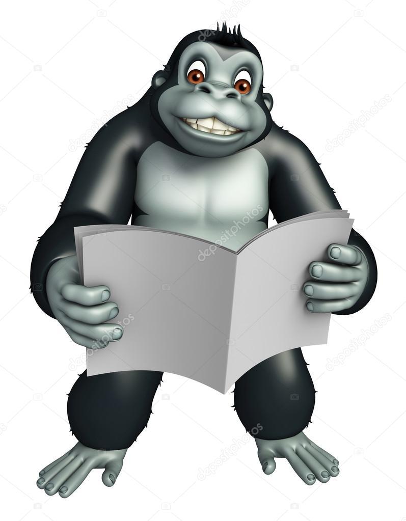 lindo personaje de dibujos animados de gorila con periódico — Fotos ...