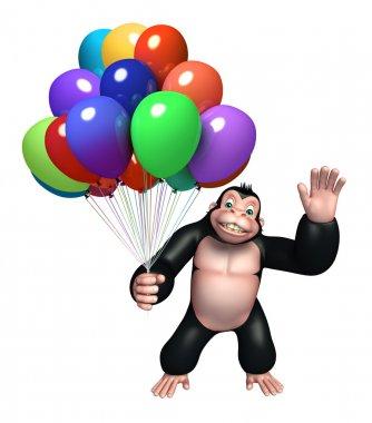 cute Gorilla cartoon character with balloon