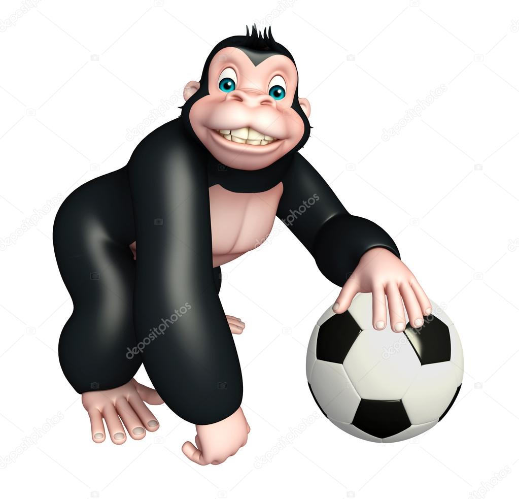 Divertente personaggio dei cartoni animati di gorilla con calcio