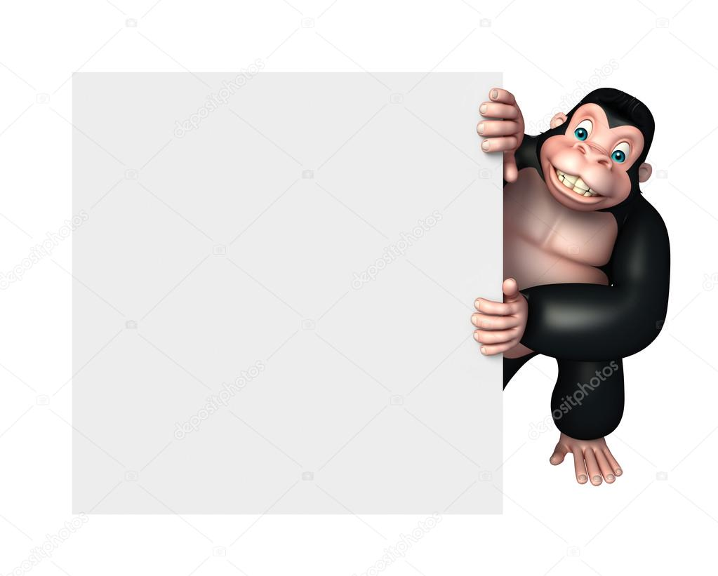 cute Gorilla cartoon character with white board
