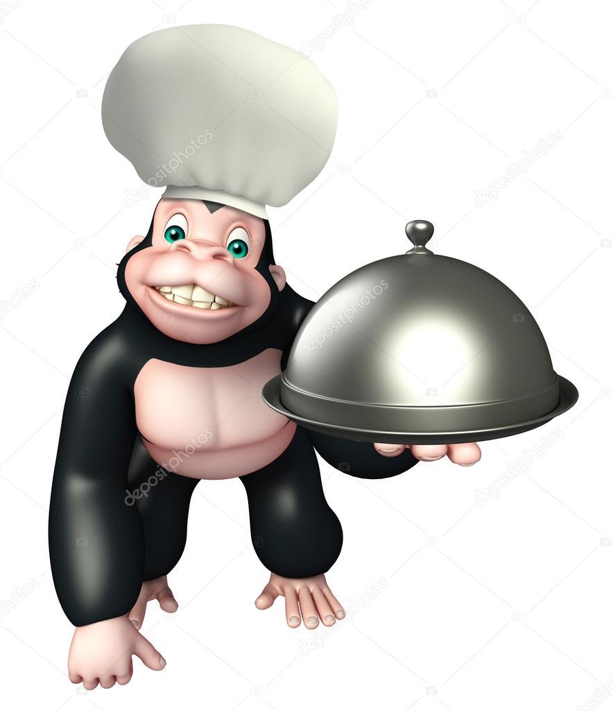 Personaggio dei cartoni animati di gorilla con cappello da chef