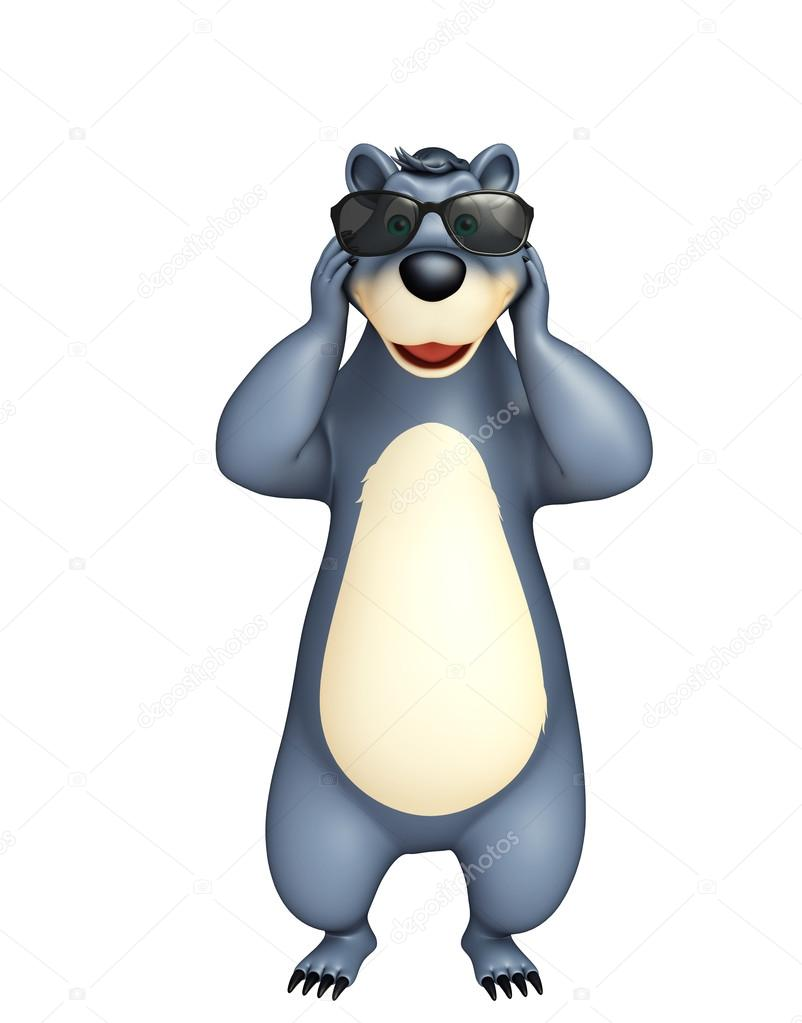 Divertente personaggio dei cartoni animati orso con occhiali da