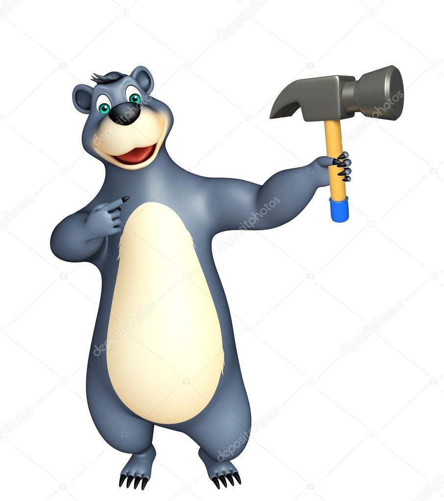 Simpatico orso personaggio dei cartoni animati con il martello