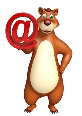 3d rendered illustration of Bear cartoon character with at the rate sign stock vector