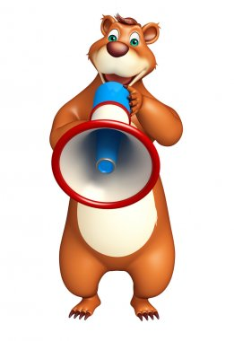 cute Bear cartoon character with loudspeaker