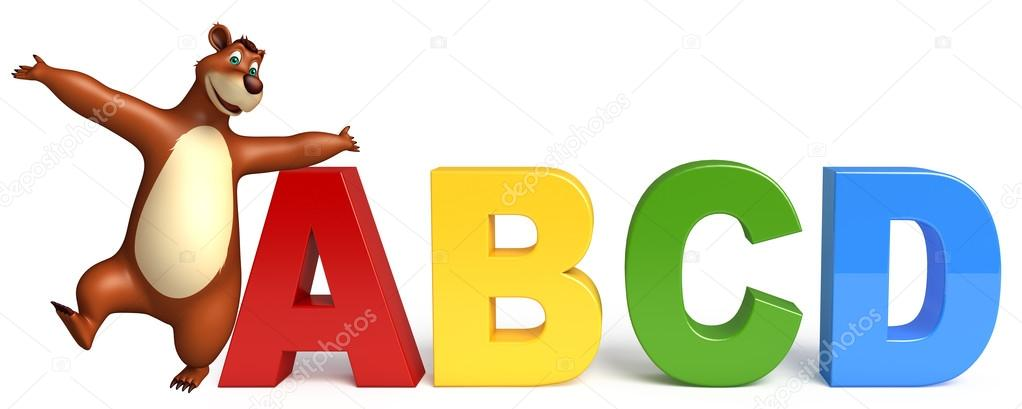 3d rendered illustration of Bear cartoon character with ABCD sign stock vector