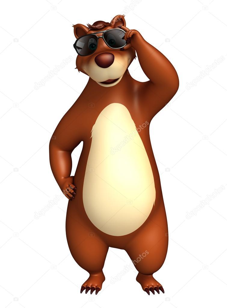 Fotografie: orso con gli occhiali cartone. divertente personaggio