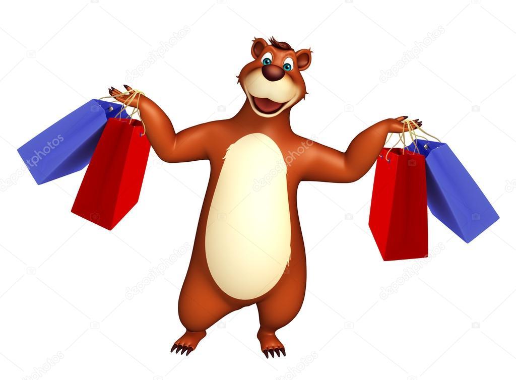 Personaggio dei cartoni animati orso con borsa della spesa u foto