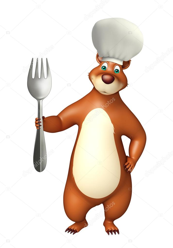 3d rendered illustration of Bear cartoon character with dinner plate and chef hat u2014 Photo by visible3dscience  sc 1 st  Depositphotos & Bear cartoon character with dinner plate and chef hat u2014 Stock Photo ...