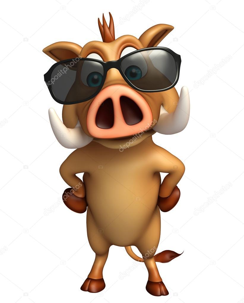 Fotografie: cinghiale con occhiali personaggio dei cartoni animati