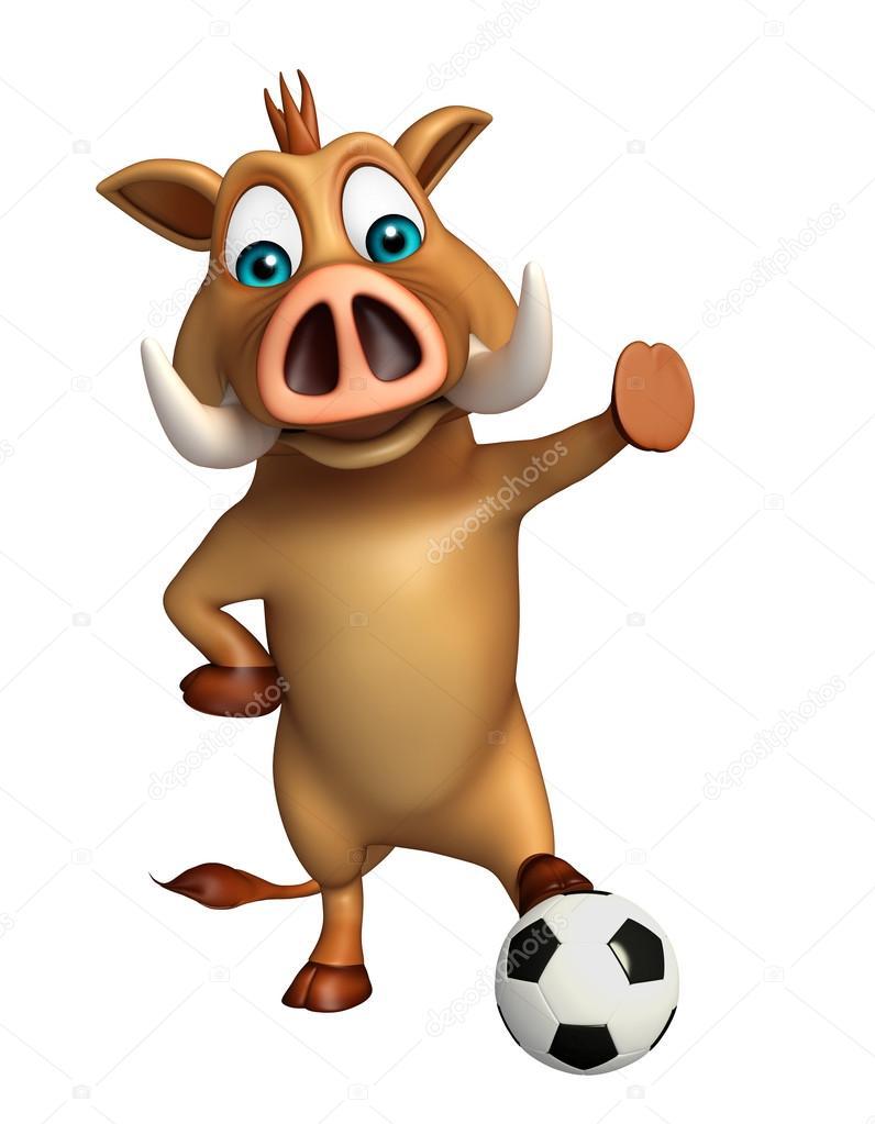 personagem de desenho animado de javali bonita com futebol