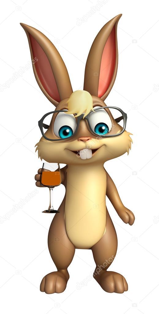 Personaggio dei cartoni animati di cute bunny con occhiali da sole