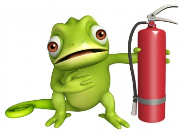 fun Chameleon cartoon character with fire extinguisher