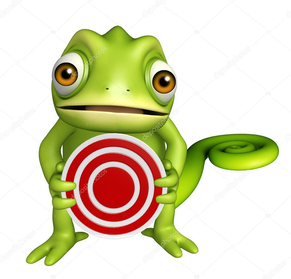 divertido personagem de desenho animado de camaleão com sinal de